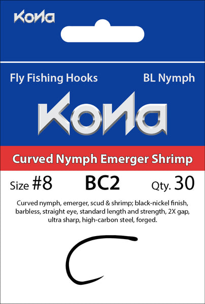Kona Barbless Curved Nymph Emerger Shrimp (BC2) hook