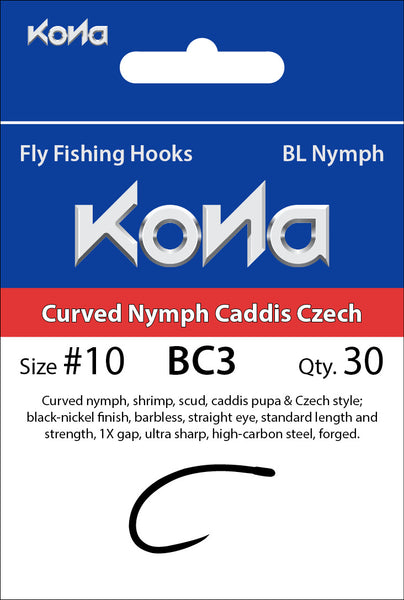 Kona Barbless Curved Nymph Caddis Czech (BC3) hook