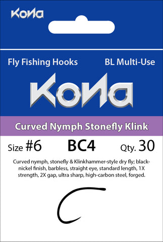 Kona Barbless Curved Nymph Stonefly Klink (BC4) hook