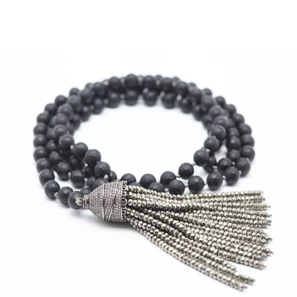 Black Onyx Mala with Pyrite Tassel