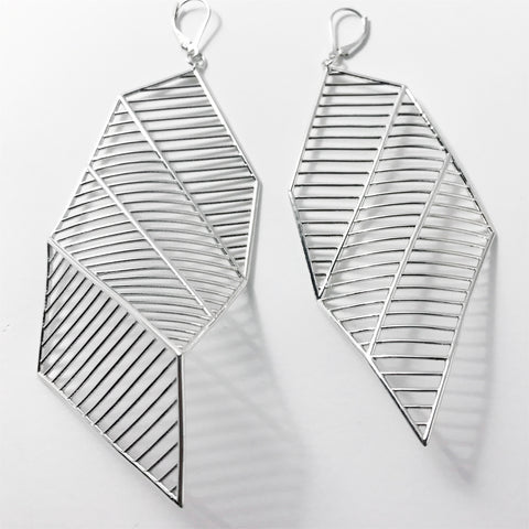 'Costae 2.0' Silver Earrings