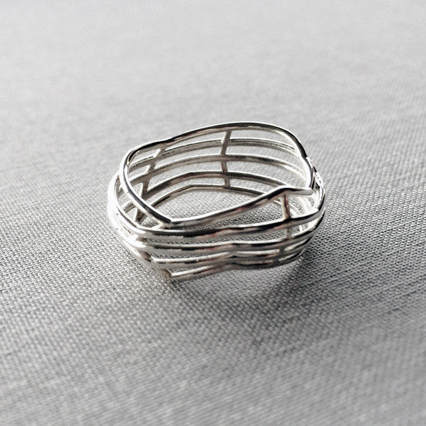 'Costae' Silver Ring