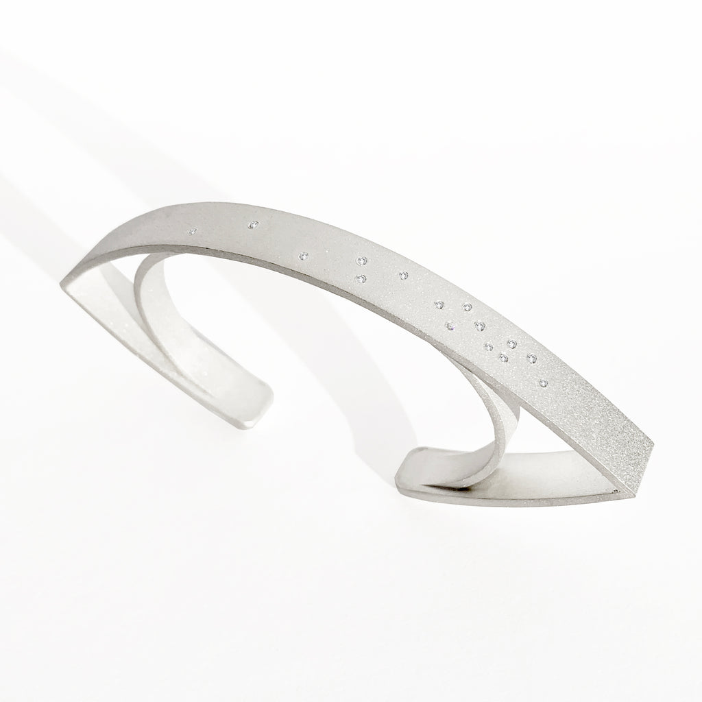 'Lotus' White Gold Cuff