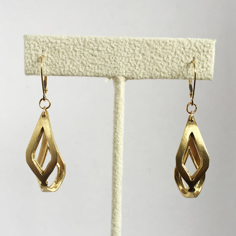 'Lozenge' Brass Earrings