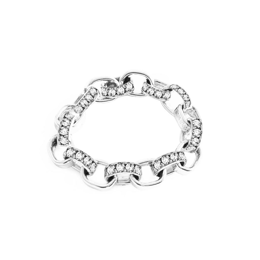 'Linked' Diamond Silver Ring