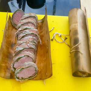 Cedar Wrapped Goat Loin with Pancetta and Spinach | FireFly Barbecue