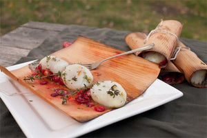 Cedar Wrapped Scallops with Cranberries, Oranges and Thyme Recipe | FireFly Barbecue
