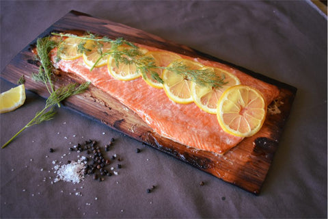 Cedar Planked Salmon with Lemon and Dill