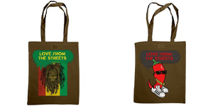 Love from the Streets - Shoulder tote, Still Jerkin about & chilli logo. - FireFly Barbecue
