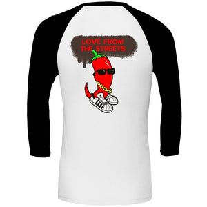 Love from the Streets - Unisex 3/4 sleeve T - Chilli - FireFly Barbecue