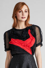 crinkled silk chiffon heart blouse
