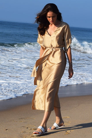 Kate Stoltz NYC designer Gold Silk Dress