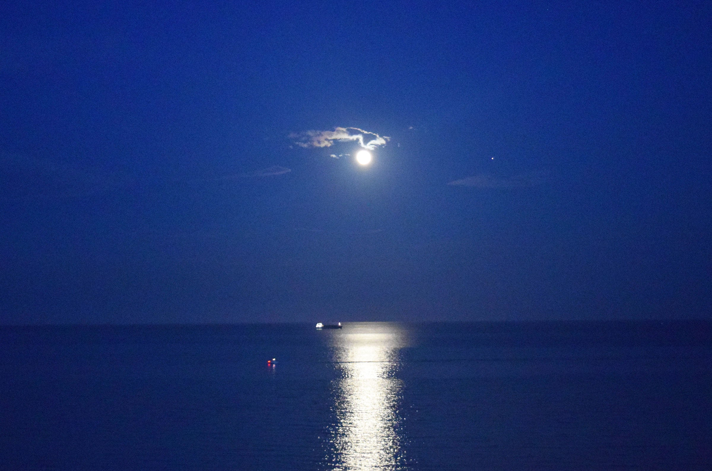 Moonlight over the Atlantic Oceon on South Beach by Kate Stoltz