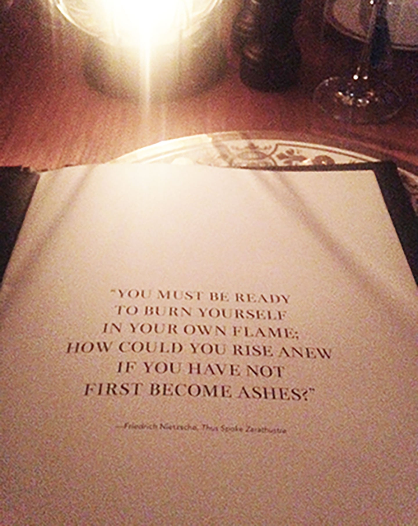 Faena Hotel menu Inspirational message