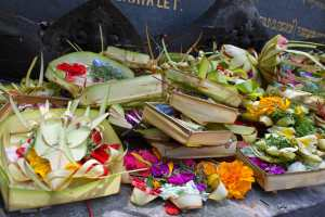 Hindu offerings at Saraswati Temple in Ubud Bali Indonesia