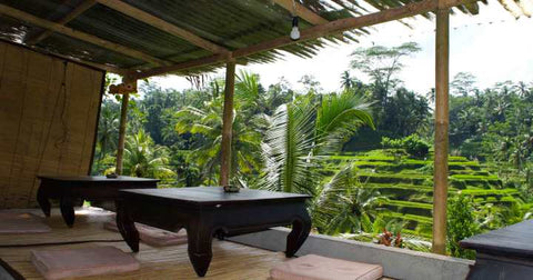 Yoga mats by the rice fields in Ubud Bali by Kate Stoltz
