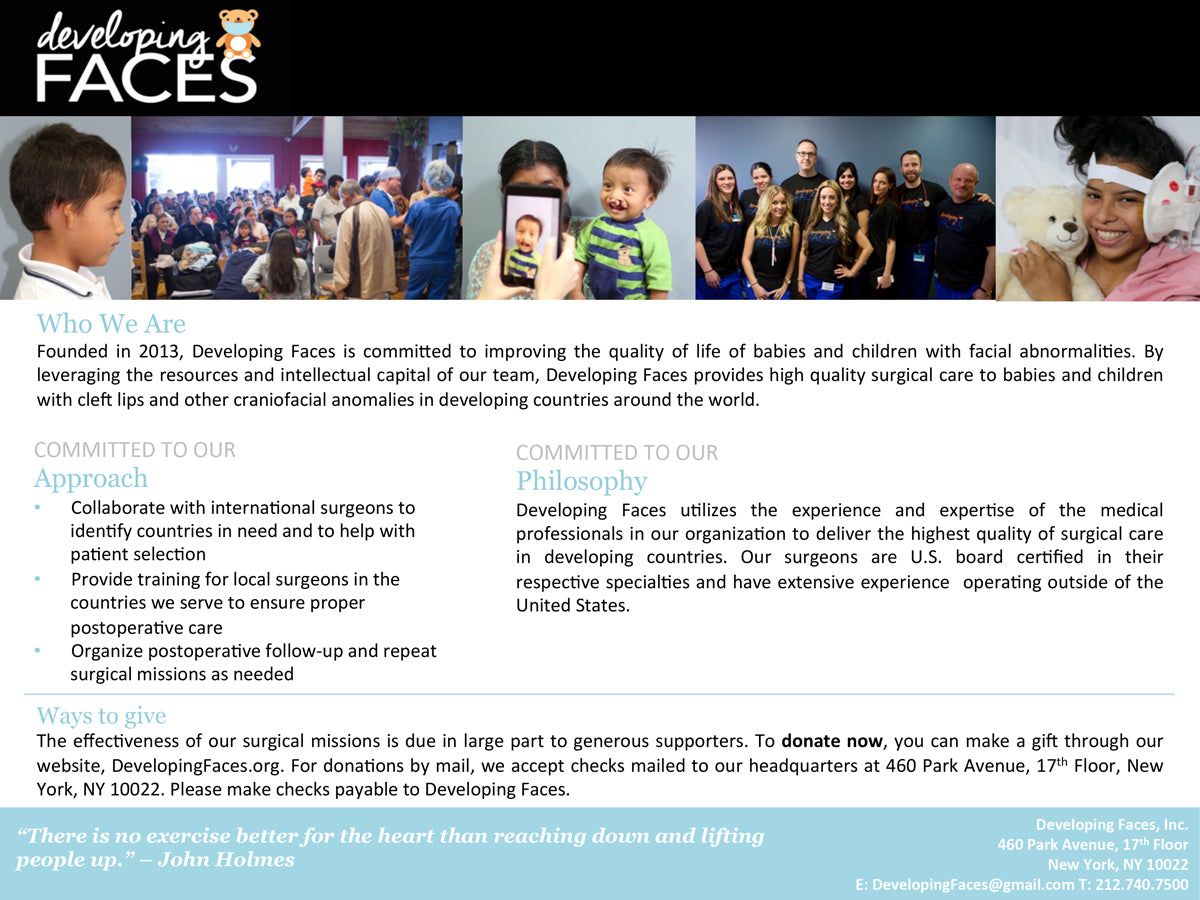 developing faces non profit charity in New York City