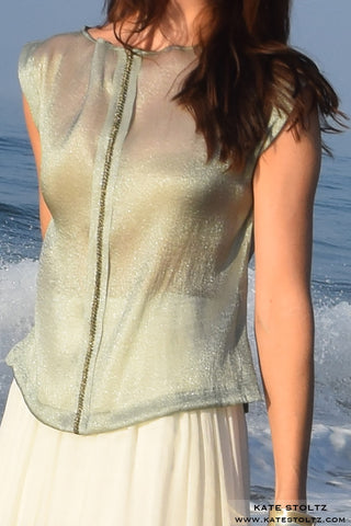 kate stoltz shimmery green blouse