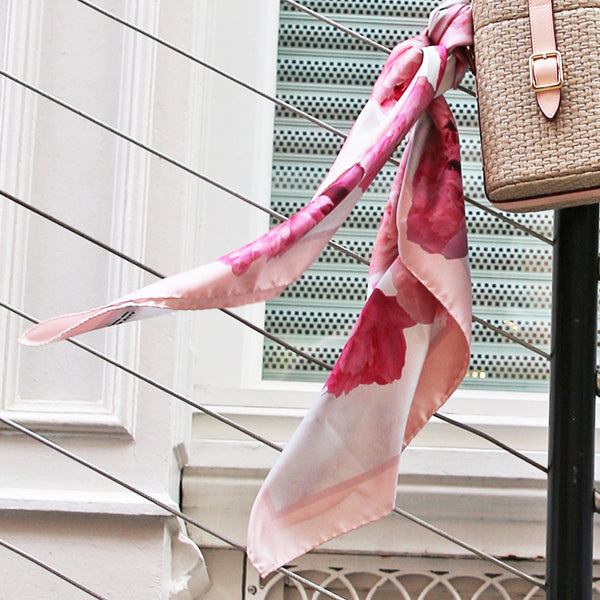 pink silk scarf made in Italy
