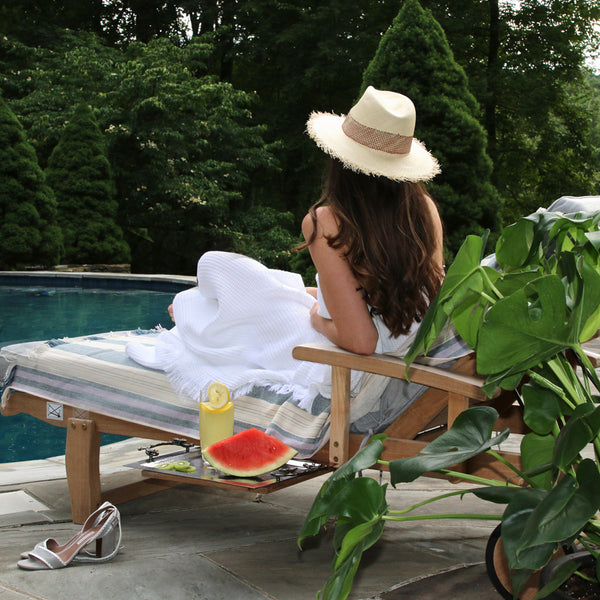 white Matouk pool towel
