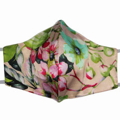 3 Layer Pink Floral Print Italian Silk Mask with Cotton Layer