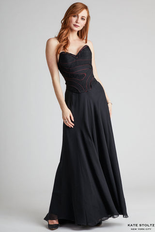 Abstract Bodice Silk Chiffon Gown