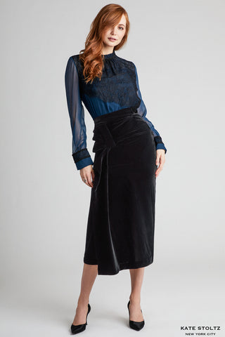 Draped Black Velvet Skirt