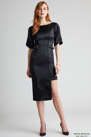 Gunmetal Buckle Hammered Silk Dress