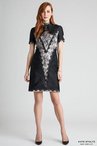 Lace and Snakeskin Jacquard Combo Dress