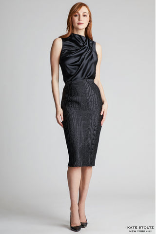 Snakeskin Jacquard Pencil Skirt
