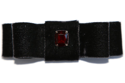 Ruby Candy Crystal Embellished Black Velvet Hair Bow