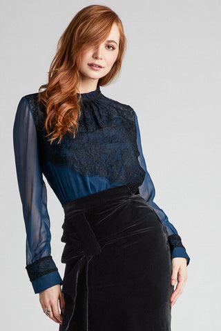 Aegean Sea Silk Chiffon Blouse with Black Braid Trim and Delicate Lace Detail
