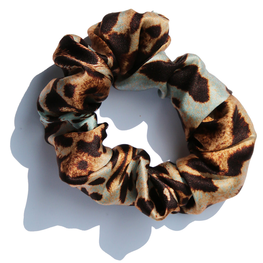 aqua-and-brown-printed-silk-charmeuse-hair-scrunchie