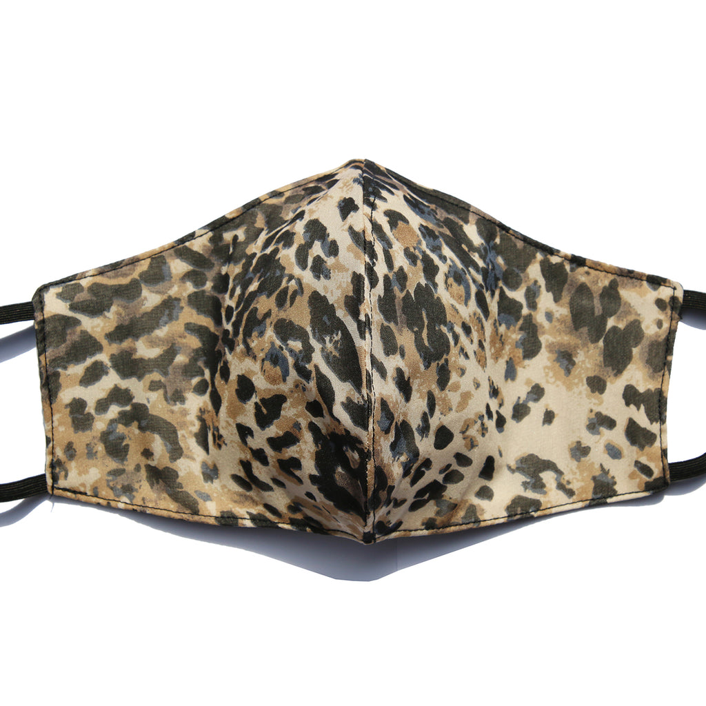 Cheetah Print Silk Chiffon Washable Mask