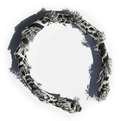 Black and White Safari Animal Frayed Headband