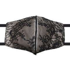 black chantilly lace over champagne silk