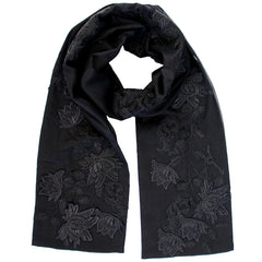 kate stoltz black lace silk chiffon scarf