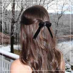 black velvet hair bow made using couture sewing methods