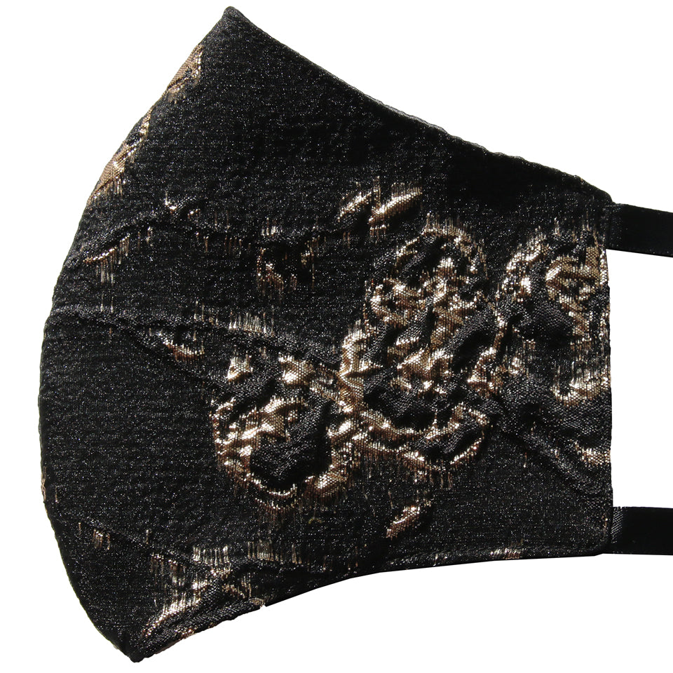 Gold Burnout Floral Jacquard Over Black Nonsurgical Mask