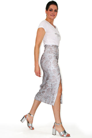 Silver Paisley Pencil Skirt