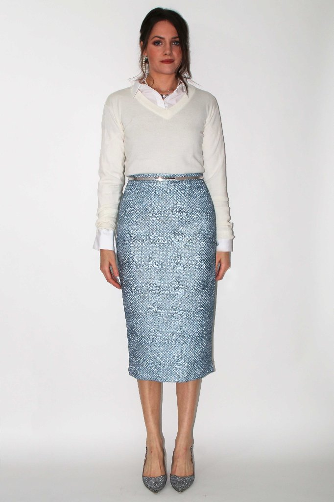 diamond quilted aqua skirt