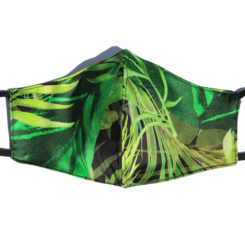 Jungle Leaf Italian Silk Mask with Cotton Layer