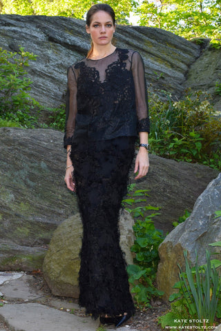 Black Feathery Pillar Skirt