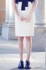Kate Stoltz cream jacquard designer pencil skirt made in NYC