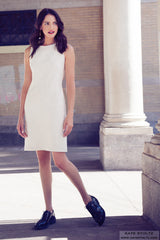 kate stoltz white shift dress made in new york city
