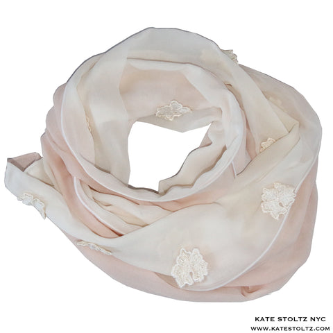 Petal Pink and White Silk Chiffon Scarf with Embroidery Flower Detail