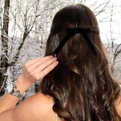 black velvet hair bow