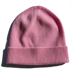 Pink Regenerated Cashmere Beanie with Faux Fur Pom Pom/Multiple Colors Available