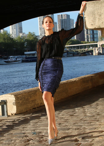 Seine River Ruched Pencil Skirt
