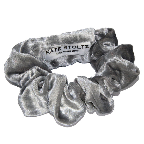 Silver Grey Velvet Hair Scrunchie